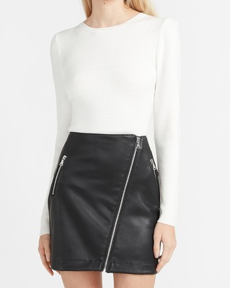 Express High Waisted Vegan Leather Asymmetrical Zip Mini Skirt