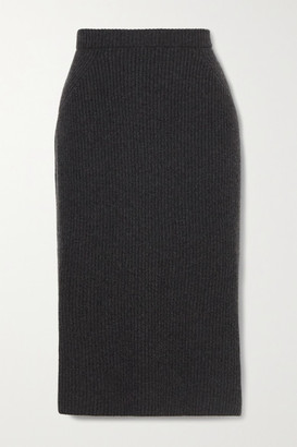 Loro Piana Ribbed Cashmere Midi Skirt - Dark gray