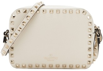 Valentino Garavani Rockstud Ivory Grained Leather Cross-body Bag