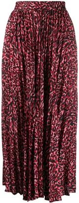Andamane Pleated Leopard Print Skirt