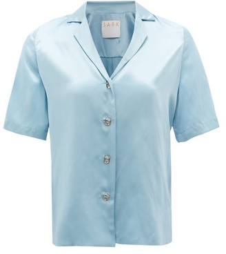S.a.r.k - Ring-pull Short-sleeved Silk Shirt - Light Blue
