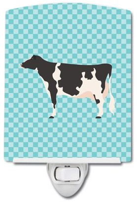Caroline's Treasures Holstein Cow Blue Check Ceramic Night Light