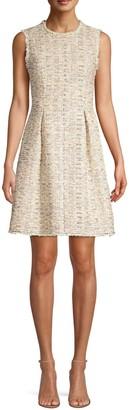 Rebecca Taylor Sleeveless Rainbow Tweed A-Line Dress