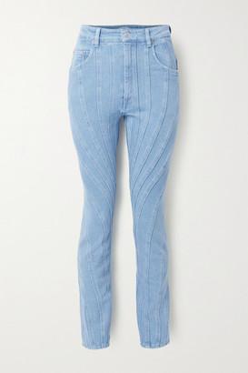 Thierry Mugler Paneled High-rise Slim-leg Jeans - Bright blue