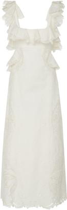 Zimmermann Cutout Ruffled Silk-Blend Midi Dress