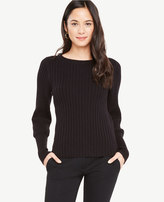 Ann Taylor Ribbed Lantern Sleeve Sweater