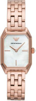 Emporio Armani Women Rose Gold-Tone Stainless Steel Bracelet Watch 24x36mm