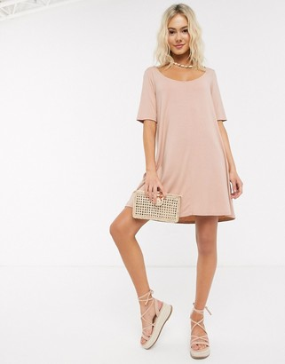 ASOS DESIGN swing t-shirt dress with concealed pockets in beige