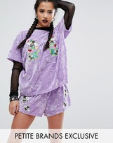 Jaded London Petite Velvet T-Shirt With Bee Embroidery