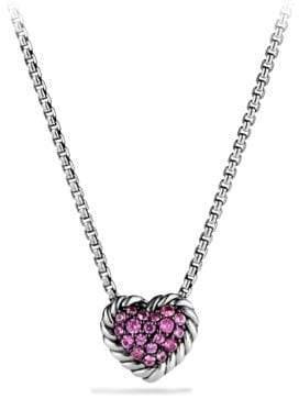 David Yurman Petite Pave Heart Pendant Necklace With Pink Sapphire
