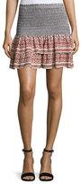 Veronica Beard Moore Silk Paisley Flounce Skirt, Dark Orange/Black