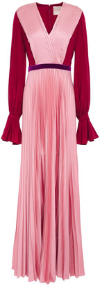 Roksanda Rora Belted Crepe De Chine And Pleated Silk-satin Maxi Dress