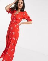 Asos Design DESIGN button through maxi tea dress with shirred waist in floral print