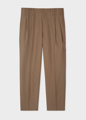 Paul Smith Men's Khaki Wool-Twill Red Ear Pleated Trousers