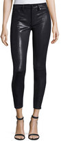 7 For All Mankind The Knee Seam Snake-Embossed Ankle Skinny Jeans, Black
