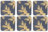 Pimpernel Etched Leaves Set of 6 Navy Coasters