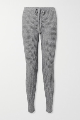 Madeleine Thompson Oceanus Waffle-knit Wool And Cashmere-blend Track Pants - Gray