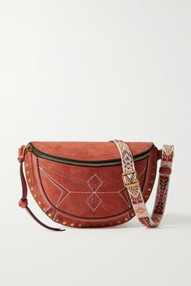 Isabel Marant Skano Jacquard-trimmed Studded Embroidered Suede Belt Bag - Tan