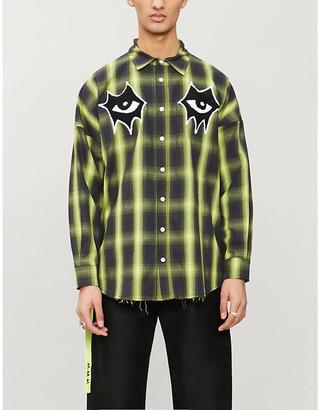 Haculla Signature Eyes-print checked cotton-twill shirt