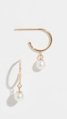 Zoë Chicco 14k Tiny Huggie Earrings with Pearl Drop