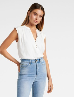 Forever New Lucy Button-Front Essential Top - White - 8