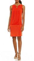 Calvin Klein Pleated Chain Neck Matte Jersey Dress