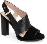 French Connection Black Urlian Open Toe Cylindrical Heel Sandals