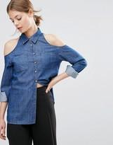 Asos Denim Cold Shoulder Shirt in Dark Wash Blue