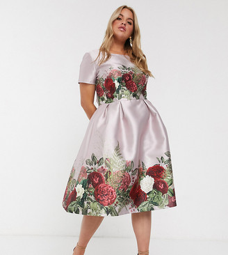 Chi Chi London Plus midi dress in floral border print