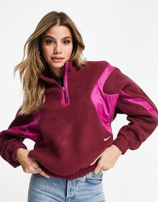 Nike Archive Pack quarter-zip fleece in burgundy