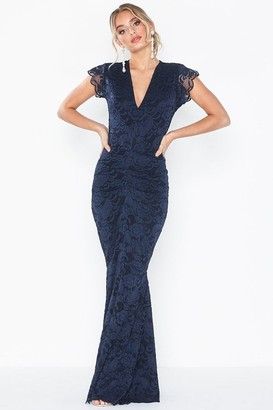 Honor Gold Lana Navy Lace Maxi Dress With Fishtail & Cap Sleeve