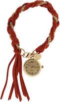 JCPenney Decree Womens Suede Braid Wrap Watch