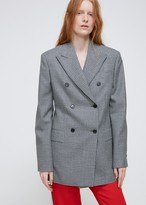 Calvin Klein Wool Check Double Breasted Blazer