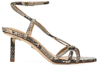 Sam Edelman Pippa Ankle-Wrap Snakeskin-Embossed Leather Sandals