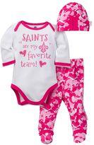 Baby Girl New Orleans Saints 3-Piece Bodysuit, Pants & Cap Set