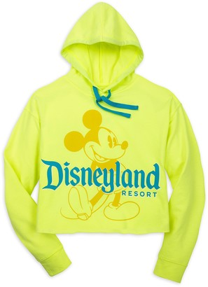 Disney Mickey Mouse Pullover Hoodie for Women Disneyland Neon Yellow
