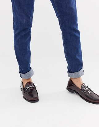 Base London Caliber bar loafers in hi shine bordo-Red
