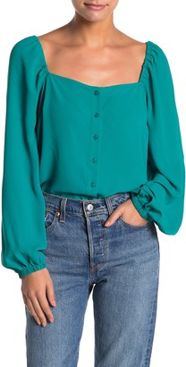 Lush Long Sleeve Square Neck Button Down Blouse