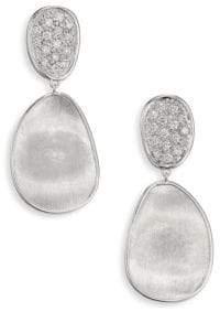 Marco Bicego Lunaria Small Diamond& 18K White Gold Double-Drop Earrings