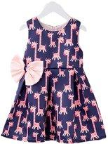 Kidscool Little Girls Sleeveless Allover Giraffe Printed Bowknot Princess Dress