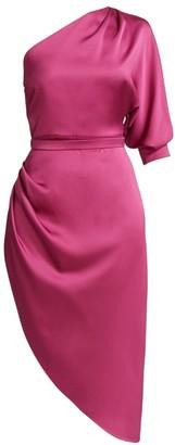 One-Shoulder Silk Satin Cocktail Dress
