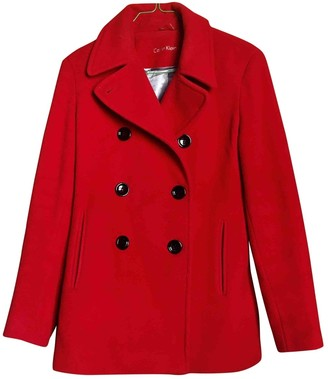 Calvin Klein Red Cashmere Coat for Women