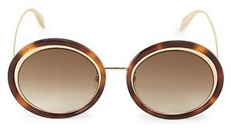 Alexander McQueen 53MM Retro Mod Round Sunglasses