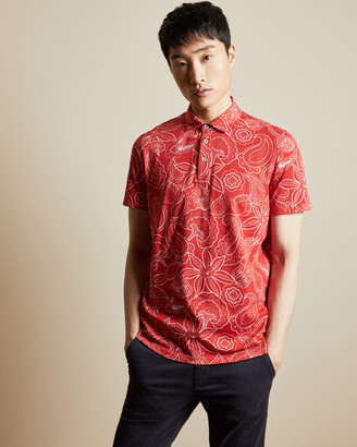 Ted Baker Short Sleeved Cotton Paisley Polo Shirt
