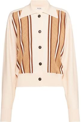 Miu Miu Striped Knitted Cardigan