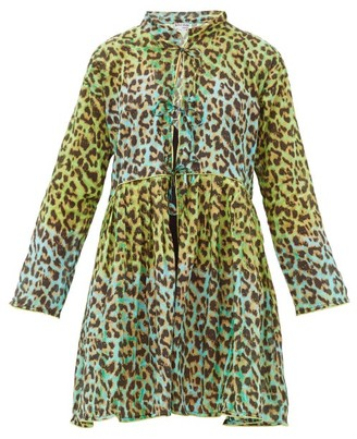 Juliet Dunn Leopard-print Tie-front Cotton Coat Dress - Womens - Green Print