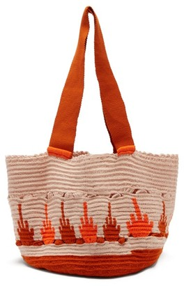 Sophie Anderson Hoyas Woven Tote Bag - Womens - Orange Multi