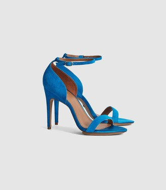 Reiss Paula - Suede Strappy Sandals in Cobalt Blue