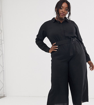 Asos DESIGN Curve shirt jumpsuit with self belt and culotte leg