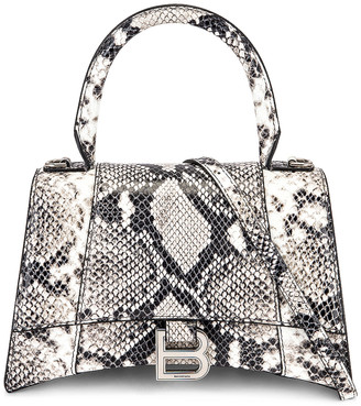 Balenciaga Small Hourglass Top Handle Bag in Black & White   FWRD